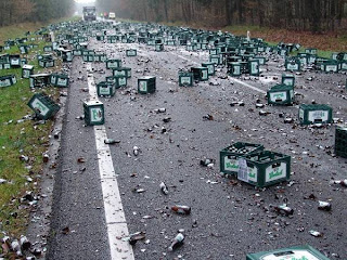 world's worst photo for men beer crash of grolsch on road