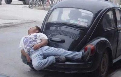 Crazy funny photos how to fall asleep in your car handly car sleeping hints ive seen some strange things in my time but this one is particularly weird im guessing that this guy is asleep on the back of a ccuart Choice Image