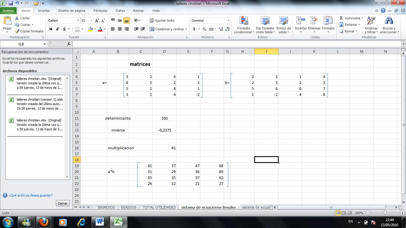 how to add matrices in excel 2010