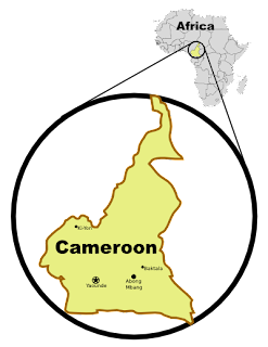 [Map: Cameroon, showing Abong Mbang and Baktala]