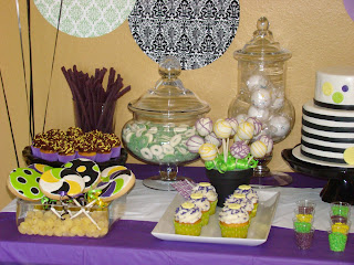 purple green yellow black and white desset table - sweet cakes by rebecca