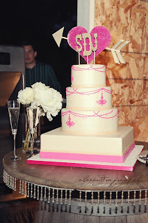 pink chandelier wedding cake