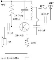 diagram of a very simple, miniature medium wave amplitude modulation radio transmitter