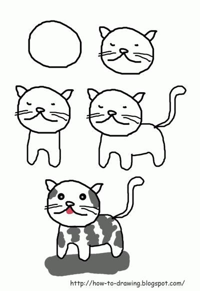 how to draw a cat easy way