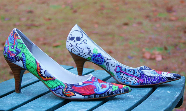 tattoo hand painted shoes