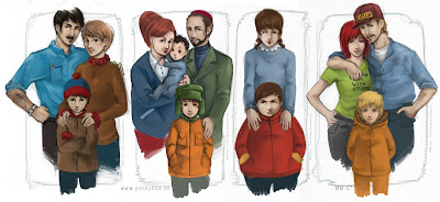 south park family portrait anime/realistic style