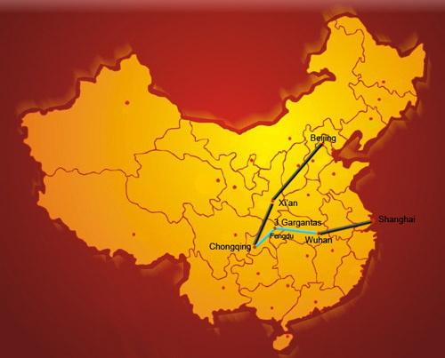 mapa del recorrido por china