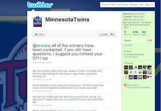 screenshot of the Minnesota Twins Twitter Page