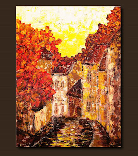 Impressionist Painting-Old Country-Abstract Art Paintings by Carmen Guedez - Image