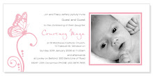 Butterfly Pink Photo Christening Invite