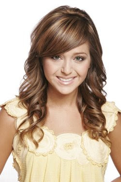 curly hairstyles with straight bangs pictures