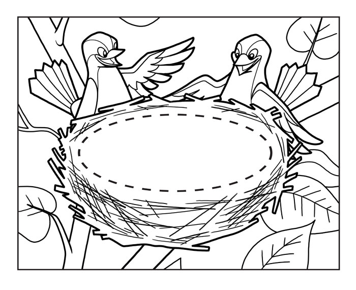 empty bird nest coloring pages Empty Bird Nest Coloring Page  Bird Nest Coloring Page