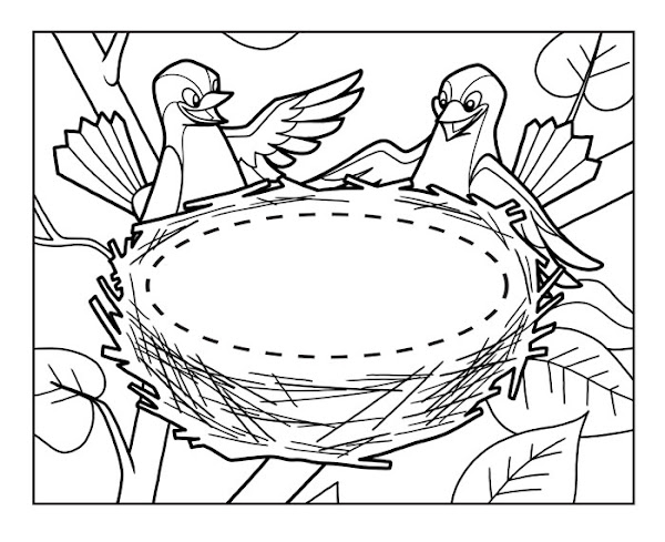 White dove coloring pages for Nest coloring page