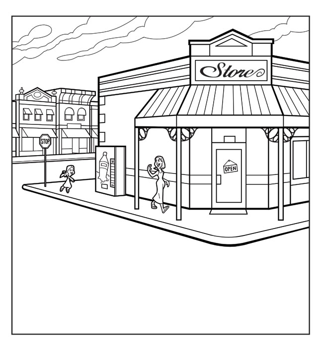 coloring pages stores - photo#23
