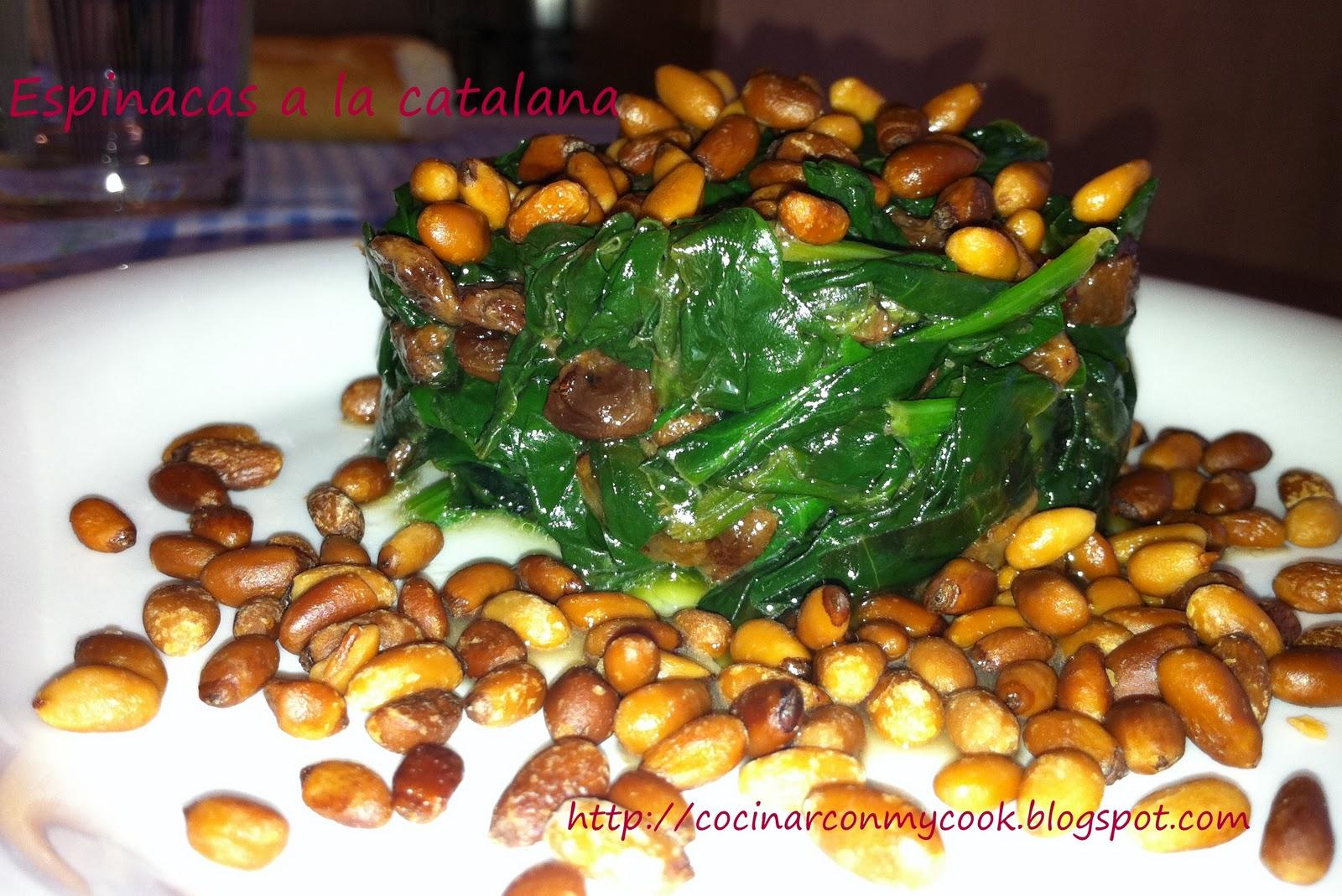 Cocinar con mycook espinacas a la catalana for Cocinar espinacas