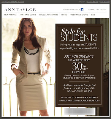 Click to view this Apr. 30, 2010 Ann Taylor email full-sized