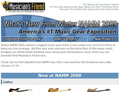 Click to view this Jan. 15, 2009 Musician's Friend email full-sized