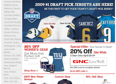 Click to view this Apr. 28, 2009 NFLshop email full-sized