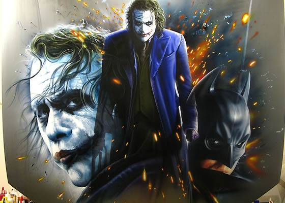 Auto news to day car airbrush dark knight joker for Airbrushed mural