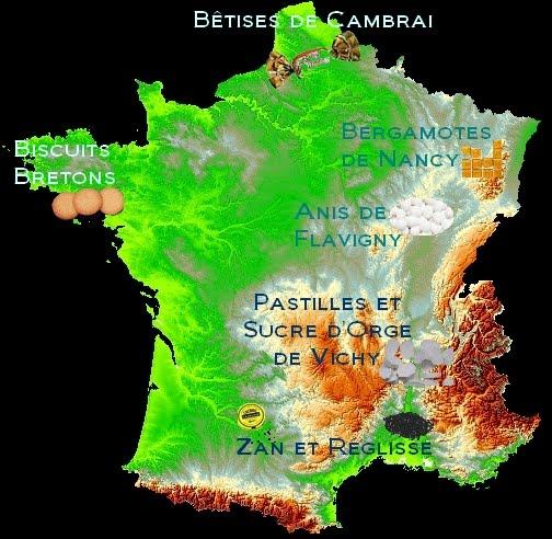 Carte de France des bonbons
