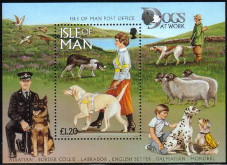 1996年マン島 ラブラドール・レトリーバー ボーダー・コリーの切手シート