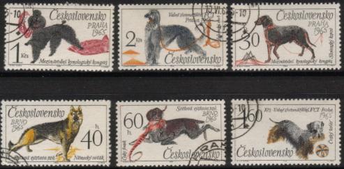 1965年チェコ・スロバキア連邦共和国 プードル アフガン・ハウンド スロヴェンスキー・ポインター ジャーマン・シェパード チェスキー・フォーセク チェスキー・テリアの切手