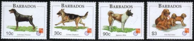 1997年バルバドス ドーベルマン ジャーマン・シェパード 秋田 アイリッシュ・セターの切手