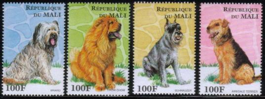 1996年マリ共和国 ブリアード チャウ・チャウ シュナウザー エアデール・テリアの切手