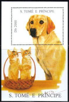 1995年サントメ・プリンシペ民主共和国 ラブラドール・レトリーバーと子猫の切手シート