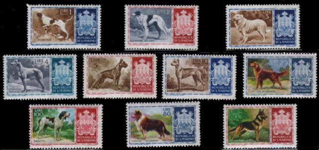 1956年サンマリノ共和国 ポインター ボルゾイ マレンマ・シープドッグ グレーハウンド ボクサー グレート・デーン アイリッシュ・セター ブラッコ・イタリアーノ ラフ・コリー ジャーマン・シェパードの切手