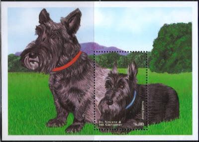 1998年セントビンセント・グレナディーン諸島 スコティッシュ・テリアの切手シート