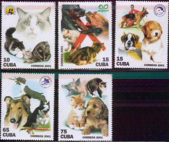 2001年キューバ共和国 シェパード コリー ボクサーなどと猫の切手5種
