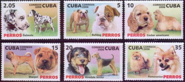 2006年キューバ共和国 ダルメシアン ブルドッグ アメリカン・コッカー・スパニエル シャー・ペイ エアデール・テリア ポメラニアンの切手