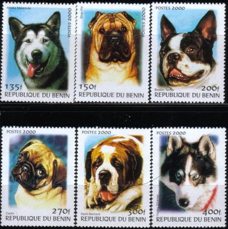 2000年ベニン共和国 アラスカン・マラミュート シャー・ペイ ボストン・テリア パグ セント・バーナード シベリアン・ハスキーの切手