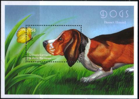 年度不明グレナダ領グレナディーン諸島 バセット・ハウンドの切手シート