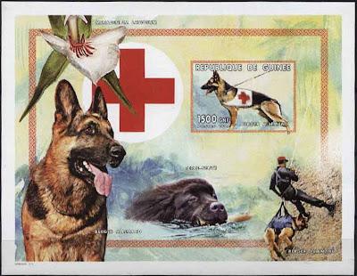 1999年ギニア共和国 ジャーマン・シェパードの切手シート