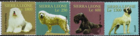 2004年シエラレオネ共和国 オールド・イングリッシュ・シープドッグ グレート・ピレニーズ ケリー・ブルー・テリア マスティフの切手