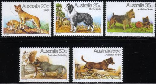 1980年オーストラリア ディンゴ ボーダー・コリー オーストラリアン・テリア オーストラリアン・キャトルドッグ オーストラリアン・ケルピーの切手