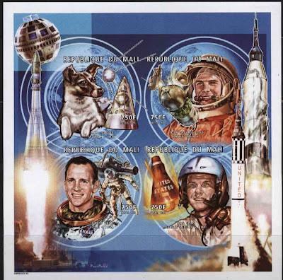 1996年マリ共和国 宇宙飛行士とライカ犬の切手シート