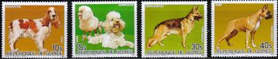 1985年ギニア共和国 コッカー・スパニエル プードル ジャーマン・シェパード ボクサーの切手