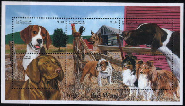 1998年セントビンセント・グレナディーン諸島 ビーグル シェパード ポインター ビズラ ブルドッグ シェルティの切手シート