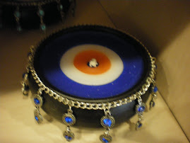 Nazar boncuk mum-Blue beads evil eye candles