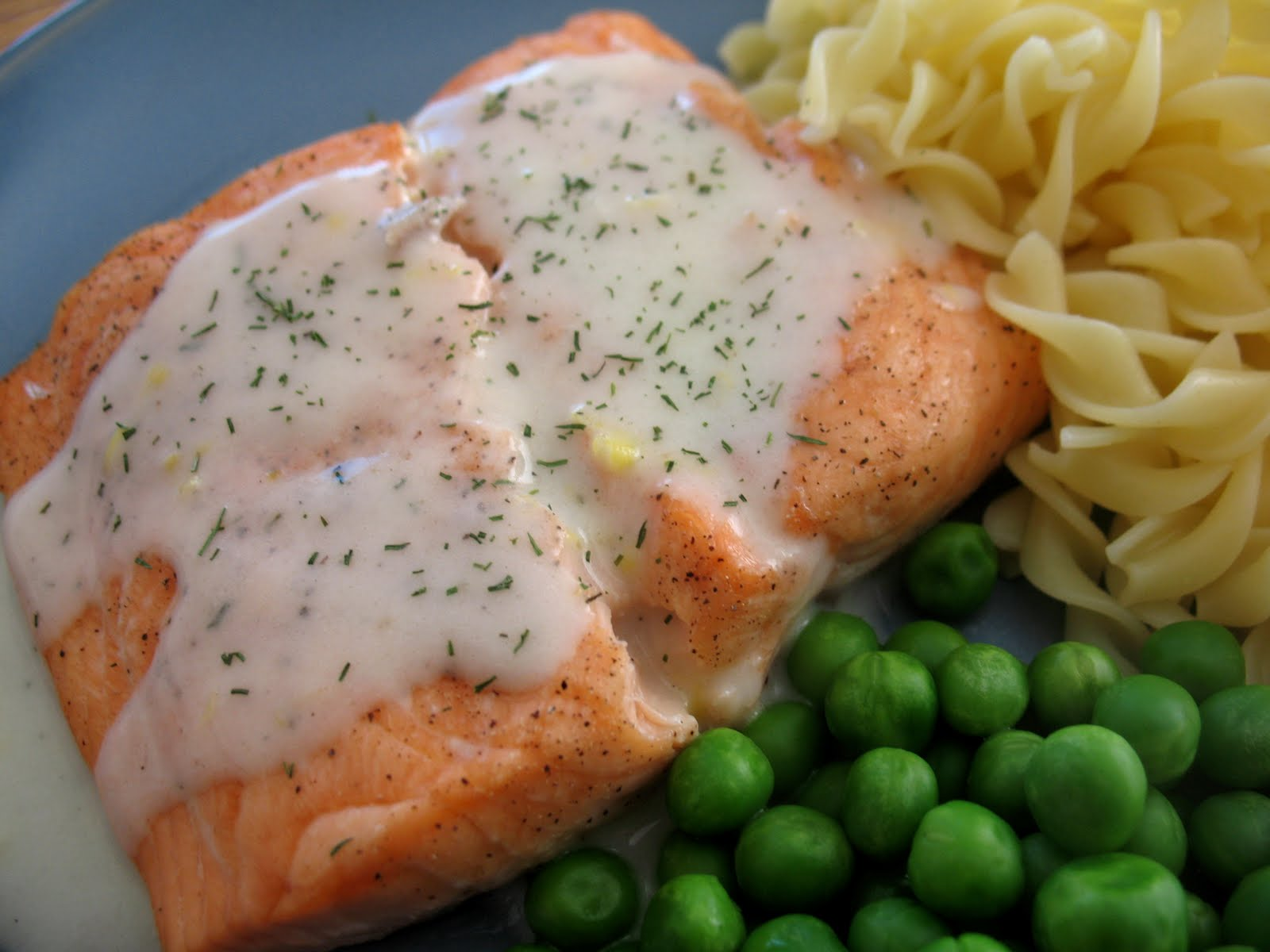 Roasted Salmon with Lemon Dill White Wine Sauce ~ Chasing Tomatoes