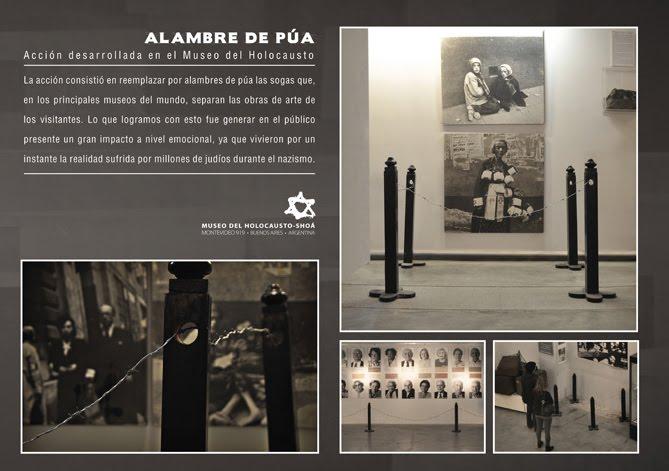Acción con alambres de púa en el Museo del Holoc
