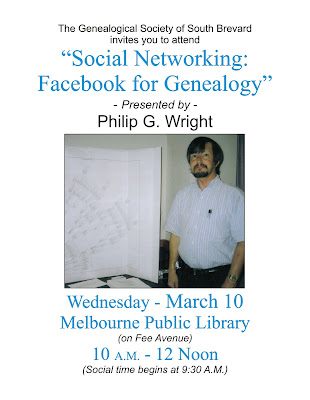 "GSSB March meeting, ""Social networking: Facebook for Genealogists"""
