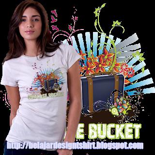 belajar design t-shirt   Suitcase bucket t-shirt design