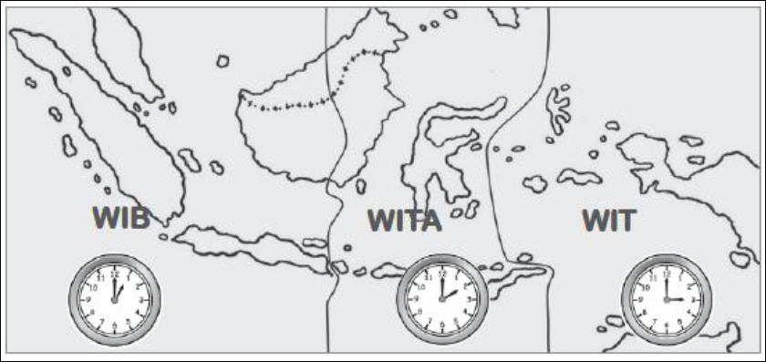 Berikut ini adalah wilayah untuk masing-masing zona waktu :