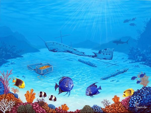 Sunken ship 18 x 24