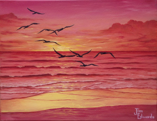 Seagulls in Sunset 11 x 14