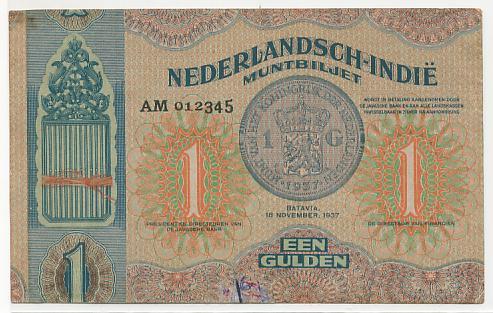 Pecahan 1 gulden bertanggal 10 November 1937 (Proof)